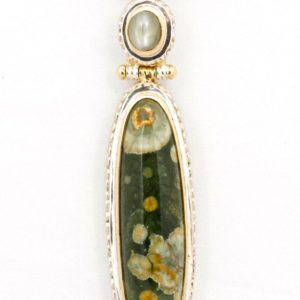 Shop Rainforest Jasper Jewelry! Jasper – Pendant – Sterling Silver And 24k Gold Plating – Cat's Eye & Rainforest Jasper | Natural genuine Rainforest Jasper jewelry. Buy crystal jewelry, handmade handcrafted artisan jewelry for women.  Unique handmade gift ideas. #jewelry #beadedjewelry #beadedjewelry #gift #shopping #handmadejewelry #fashion #style #product #jewelry #affiliate #ad