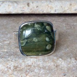 Shop Jasper Rings! Mens Large Gemstone Silver Ring, Green Jasper Silver Ring, Gift for Men | Natural genuine Jasper mens fashion rings, simple unique handcrafted gemstone men's rings, gifts for men. Anillos hombre. #rings #jewelry #crystaljewelry #gemstonejewelry #handmadejewelry #affiliate #ad