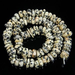 Shop Jasper Rondelle Beads! gem semiprecious Natural Dalmatian Jasper Freeform Rondelle Disk Beads, Spacer Stone beads,  Jewelry beads 3-5×8-13mm, 15'' strand | Natural genuine rondelle Jasper beads for beading and jewelry making.  #jewelry #beads #beadedjewelry #diyjewelry #jewelrymaking #beadstore #beading #affiliate #ad