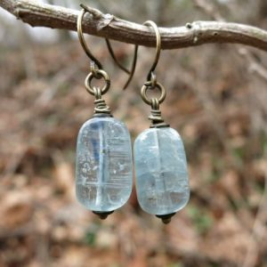 Shop Kyanite Earrings! Blue Kyanite Dangle Earrings, Simple Rustic Dainty Blue Kyanite Crystal Earrings With Antiqued Brass | Natural genuine Kyanite earrings. Buy crystal jewelry, handmade handcrafted artisan jewelry for women.  Unique handmade gift ideas. #jewelry #beadedearrings #beadedjewelry #gift #shopping #handmadejewelry #fashion #style #product #earrings #affiliate #ad