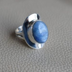 Shop Kyanite Jewelry! Natural Kyanite Ring-Handmade Silver Ring-925 Sterling Silver Designer Ring-Oval Kyanite Ring-Gift for her-Taurus Birthstone-Promise Ring | Natural genuine Kyanite jewelry. Buy crystal jewelry, handmade handcrafted artisan jewelry for women.  Unique handmade gift ideas. #jewelry #beadedjewelry #beadedjewelry #gift #shopping #handmadejewelry #fashion #style #product #jewelry #affiliate #ad