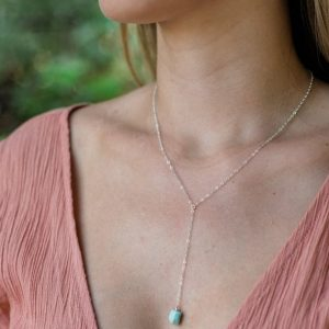"Shop Larimar Necklaces! Rough light aqua larimar crystal lariat necklace in gold, silver, bronze or rose gold. Adjustable 16"" long with 2-inch long extender 