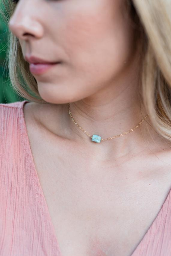 """Tiny Raw Light Blue Larimar Crystal Nugget Choker Necklace In Gold, Silver, Bronze Or Rose Gold - 12"""" Chain With 2"""" Adjustable Extender"""