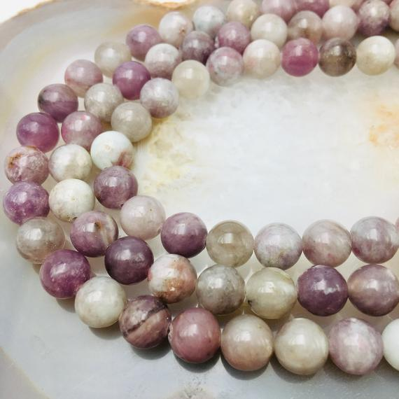 """Light Natural Lepidolite Smooth Round 4mm 6mm 8mm 10mm Approx 15.5"""" Strand"""