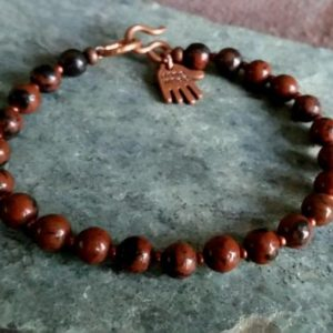 Shop Mahogany Obsidian Bracelets! MAHOGANY OBSIDIAN BEAD Bracelet with Copper Clasp. Choice of 6mm or 8mm Beads. Mens Womens Brown & Black Natural Stone Bracelet. All Sizes.   Natural genuine Mahogany Obsidian bracelets. Buy handcrafted artisan men's jewelry, gifts for men.  Unique handmade mens fashion accessories. #jewelry #beadedbracelets #beadedjewelry #shopping #gift #handmadejewelry #bracelets #affiliate #ad