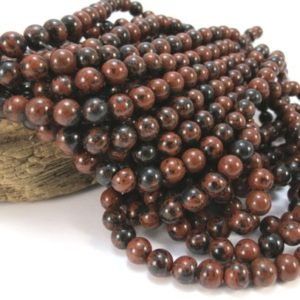 Shop Mahogany Obsidian Beads! Mahogany Obsidian Beads, Natural 6mm Round Beads, 16″ Inch Strand, 6mm Black And Red Beads, Beading Supplies, Item 936pm | Natural genuine round Mahogany Obsidian beads for beading and jewelry making.  #jewelry #beads #beadedjewelry #diyjewelry #jewelrymaking #beadstore #beading #affiliate #ad