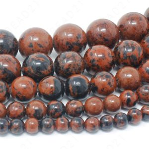 "Mahogany Obsidian Beads Natural Gemstone Round Loose – 4mm 6mm 8mm 10mm 12mm – 15.5"" Strand 
