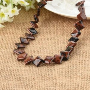 Shop Mahogany Obsidian Beads! Mahogany Obsidian Diamond Overlapping Beads 12mm For Diy Jewelry Making | Natural genuine other-shape Mahogany Obsidian beads for beading and jewelry making.  #jewelry #beads #beadedjewelry #diyjewelry #jewelrymaking #beadstore #beading #affiliate #ad
