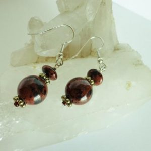 Shop Mahogany Obsidian Earrings! Mahogany Obsidian Earrings, Gemstone Dangle Earrings, Drop Earrings, Reddish Brown / Black Beads, OOAK Handcrafted Jewelry Gift for Her | Natural genuine Mahogany Obsidian earrings. Buy crystal jewelry, handmade handcrafted artisan jewelry for women.  Unique handmade gift ideas. #jewelry #beadedearrings #beadedjewelry #gift #shopping #handmadejewelry #fashion #style #product #earrings #affiliate #ad