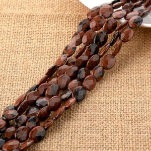 Shop Mahogany Obsidian Beads! Mahogany Obsidian Gemstone Faceted Oval Beads 10*14mm For Diy Jewelry Making | Natural genuine faceted Mahogany Obsidian beads for beading and jewelry making.  #jewelry #beads #beadedjewelry #diyjewelry #jewelrymaking #beadstore #beading #affiliate #ad