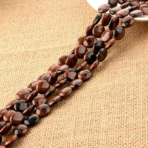 Shop Mahogany Obsidian Beads! Mahogany Obsidian Jasper Oval Beads 12*14mm For Diy Jewelry Making | Natural genuine other-shape Mahogany Obsidian beads for beading and jewelry making.  #jewelry #beads #beadedjewelry #diyjewelry #jewelrymaking #beadstore #beading #affiliate #ad