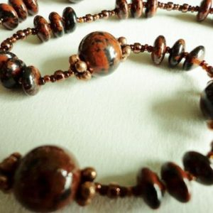 Shop Mahogany Obsidian Necklaces! Mahogany Obsidian Necklace, Obsidian Gemstone Beads Necklace, Rich Mahogany Brown Beads, Handcrafted Jewelry Gift for Her | Natural genuine Mahogany Obsidian necklaces. Buy crystal jewelry, handmade handcrafted artisan jewelry for women.  Unique handmade gift ideas. #jewelry #beadednecklaces #beadedjewelry #gift #shopping #handmadejewelry #fashion #style #product #necklaces #affiliate #ad