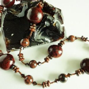 Shop Mahogany Obsidian Necklaces! Mahogany Obsidian Necklace,  Mahogany Gemstone Beads Necklace, Dark Brown Natural Bibokao Seeds Beads, OOAK Handcrafted Jewelry Gift for Her | Natural genuine Mahogany Obsidian necklaces. Buy crystal jewelry, handmade handcrafted artisan jewelry for women.  Unique handmade gift ideas. #jewelry #beadednecklaces #beadedjewelry #gift #shopping #handmadejewelry #fashion #style #product #necklaces #affiliate #ad