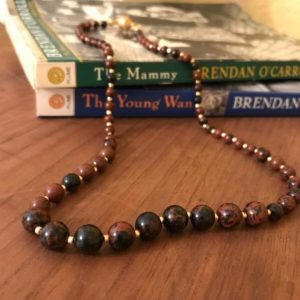 Shop Mahogany Obsidian Necklaces! Mahogany Obsidian Necklace: Single Strand with Gold Czech Glass Accent Beads | Natural genuine Mahogany Obsidian necklaces. Buy crystal jewelry, handmade handcrafted artisan jewelry for women.  Unique handmade gift ideas. #jewelry #beadednecklaces #beadedjewelry #gift #shopping #handmadejewelry #fashion #style #product #necklaces #affiliate #ad