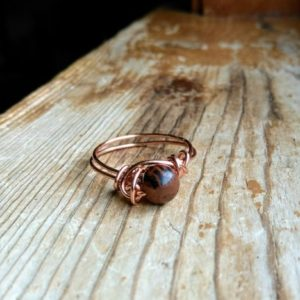 Shop Mahogany Obsidian Rings! Mahogany Obsidian Ring, Copper Wire Ring, Crystal Ring, Wire Wrapped Mahogany Obsidian Ring, Copper Wire Wrapped Ring with Gemstone | Natural genuine Mahogany Obsidian rings, simple unique handcrafted gemstone rings. #rings #jewelry #shopping #gift #handmade #fashion #style #affiliate #ad