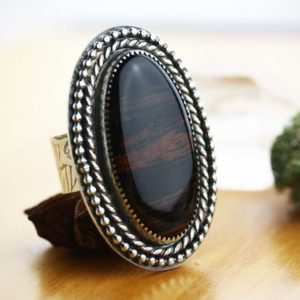 Shop Mahogany Obsidian Rings! The River Styx | Mahogany Obsidian sterling silver ring with wide band | Artisan made obsidian gemstone statement ring | US Size 8 | Natural genuine Mahogany Obsidian rings, simple unique handcrafted gemstone rings. #rings #jewelry #shopping #gift #handmade #fashion #style #affiliate #ad