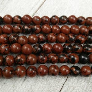 Shop Mahogany Obsidian Beads! Mahogany Obsidian Stone Beads 8mm Round Gemstones 6mm Earrings Bracelet Religious Prayer Rosary Yoga Mala Necklace Bohemian Jewelry Findings | Natural genuine round Mahogany Obsidian beads for beading and jewelry making.  #jewelry #beads #beadedjewelry #diyjewelry #jewelrymaking #beadstore #beading #affiliate #ad