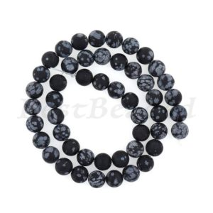 Shop Snowflake Obsidian Round Beads! Matte Natural Snowflake Obsidian Bead,round Gemstone Bracelet Loose Beads,diy Handmade Findings 6mm 8mm 10mm 1str | Natural genuine round Snowflake Obsidian beads for beading and jewelry making.  #jewelry #beads #beadedjewelry #diyjewelry #jewelrymaking #beadstore #beading #affiliate #ad