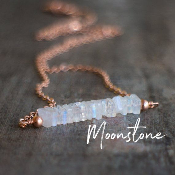 Rainbow Moonstone Necklace, Sterling Silver Necklace, Rose Gold Filled Necklace, Handmade Jewelry, June Birthstone Gifts For Her