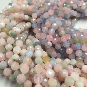 Faceted Morganite Round Gemstone Pink+green Or Pink+blue Loose Beads Size 4mm / 6 / mm 15.5'' Long Gem-xt073018006 | Natural genuine faceted Morganite beads for beading and jewelry making.  #jewelry #beads #beadedjewelry #diyjewelry #jewelrymaking #beadstore #beading #affiliate #ad