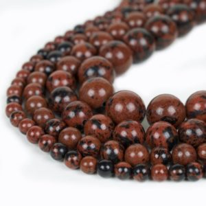 "Natural Mahogany Obsidian Beads 4mm 6mm 8mm 10mm Round 15.5"" Full Strand Wholesale Gemstones 