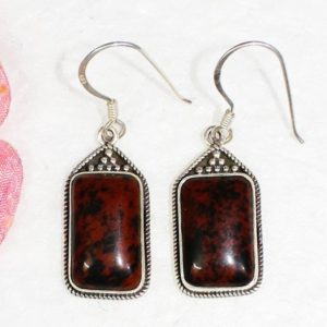 Shop Mahogany Obsidian Earrings! NATURAL MAHOGANY OBSIDIAN Gemstone Studded In Solid 925 Sterling Silver Earrings, Handmade Dangle Earrings, October Birthstone | Natural genuine Mahogany Obsidian earrings. Buy crystal jewelry, handmade handcrafted artisan jewelry for women.  Unique handmade gift ideas. #jewelry #beadedearrings #beadedjewelry #gift #shopping #handmadejewelry #fashion #style #product #earrings #affiliate #ad