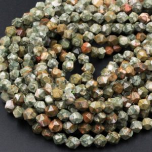 Shop Rainforest Jasper Beads! Natural Rainforest Rhyolite Jasper Faceted Nugget Star Cut Geometric Beads Large Facets 8mm Faceted Beads 16″ Strand | Natural genuine faceted Rainforest Jasper beads for beading and jewelry making.  #jewelry #beads #beadedjewelry #diyjewelry #jewelrymaking #beadstore #beading #affiliate #ad