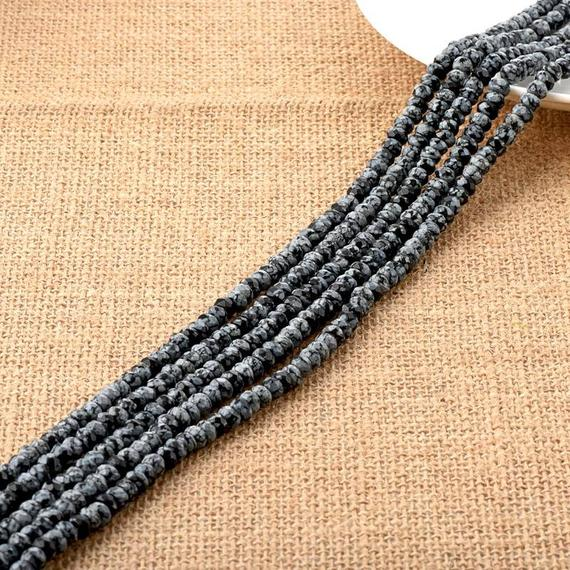 Natural Snowflake Obsidian Faceted Rondelle Beads 4*6mm
