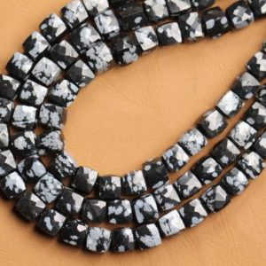 Shop Obsidian Bead Shapes! 8 inch long strand faceted Obsidian cube beads 6 mm approx | Natural genuine other-shape Obsidian beads for beading and jewelry making.  #jewelry #beads #beadedjewelry #diyjewelry #jewelrymaking #beadstore #beading #affiliate #ad