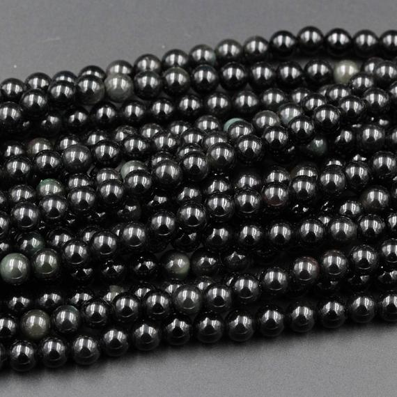 "Natural Rainbow Black Obsidian 4mm 6mm 8mm 10mm Round Beads 15.5"" Strand"