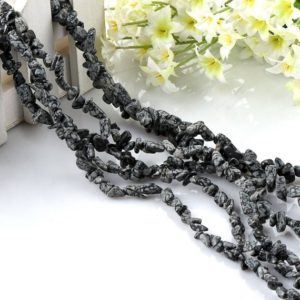 Shop Snowflake Obsidian Chip & Nugget Beads! One Strand Snowflake Obsidian Chip Gemstone Bead | Natural genuine chip Snowflake Obsidian beads for beading and jewelry making.  #jewelry #beads #beadedjewelry #diyjewelry #jewelrymaking #beadstore #beading #affiliate #ad