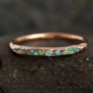 Shop Opal Rings! Genuine Natural Australian Opal Band Ring. Opal Ring. Australian Opal Ring. Genuine Opal Ring. Opal Band Ring.raw Rough Australian Opal Ring | Natural genuine Opal rings, simple unique handcrafted gemstone rings. #rings #jewelry #shopping #gift #handmade #fashion #style #affiliate #ad