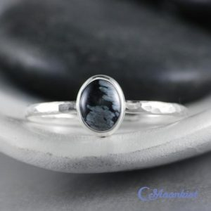 Shop Snowflake Obsidian Rings! Oval Obsidian Ring – Sterling Silver Obsidian Ring – Snowflake Obsidian Ring Silver – Sagittarius Birthstone Ring – Promise Ring for Women | Natural genuine Snowflake Obsidian rings, simple unique handcrafted gemstone rings. #rings #jewelry #shopping #gift #handmade #fashion #style #affiliate #ad