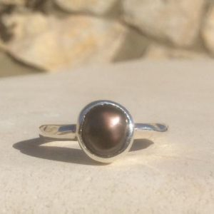 Shop Pearl Rings! Pearl Silver Ring, Brown Freshwater Pearl Ring, Bridesmaids Gift, June Birthstone Silver Ring | Natural genuine Pearl rings, simple unique handcrafted gemstone rings. #rings #jewelry #shopping #gift #handmade #fashion #style #affiliate #ad
