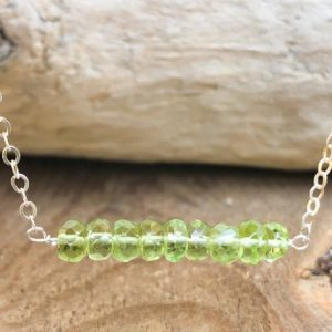 Shop Peridot Necklaces! Peridot Bar Necklace – Peridot Jewelry – August Birthstone Gift – August Gift For Her – Birthstone Necklace – Peridot Necklace – Peridot | Natural genuine Peridot necklaces. Buy crystal jewelry, handmade handcrafted artisan jewelry for women.  Unique handmade gift ideas. #jewelry #beadednecklaces #beadedjewelry #gift #shopping #handmadejewelry #fashion #style #product #necklaces #affiliate #ad
