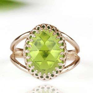 Shop Peridot Rings! Peridot ring,birthstone ring,rose gold ring,pink gold ring,green ring,precious stone ring,oval ring,custom ring | Natural genuine Peridot rings, simple unique handcrafted gemstone rings. #rings #jewelry #shopping #gift #handmade #fashion #style #affiliate #ad