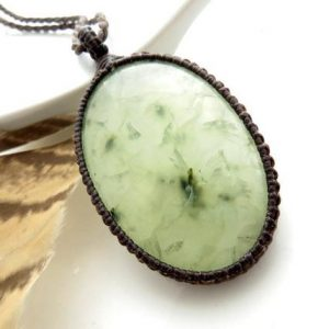 Shop Prehnite Necklaces! Prehnite Necklace,  Prehnite, Macrame necklace,  jewelry, Green stone, Positive energy, Gift for friend, Gift for her | Natural genuine Prehnite necklaces. Buy crystal jewelry, handmade handcrafted artisan jewelry for women.  Unique handmade gift ideas. #jewelry #beadednecklaces #beadedjewelry #gift #shopping #handmadejewelry #fashion #style #product #necklaces #affiliate #ad