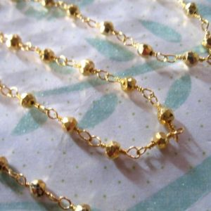 Shop Pyrite Rondelle Beads! 5 Feet, Pyrite Rosary Chain, Wire Wrapped Rondelle Chain, Gold Plated, Wholesale Gemstone Chain Rc.16 | Natural genuine rondelle Pyrite beads for beading and jewelry making.  #jewelry #beads #beadedjewelry #diyjewelry #jewelrymaking #beadstore #beading #affiliate #ad