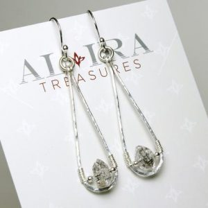 Genuine Herkimer Diamond Sterling Silver Earrings crystal clear gemstone modern artisan dangle drops April birthstone gift for her 5385 | Natural genuine Gemstone earrings. Buy crystal jewelry, handmade handcrafted artisan jewelry for women.  Unique handmade gift ideas. #jewelry #beadedearrings #beadedjewelry #gift #shopping #handmadejewelry #fashion #style #product #earrings #affiliate #ad