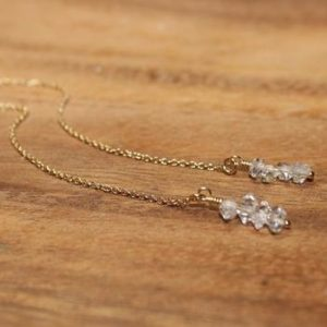 Herkimer Diamond Earrings, Herkimer Diamond Jewelry, Ear Thread Earrings, Wedding, Bridesmaid, Modern, Danity, Lightweight | Natural genuine Gemstone earrings. Buy handcrafted artisan wedding jewelry.  Unique handmade bridal jewelry gift ideas. #jewelry #beadedearrings #gift #crystaljewelry #shopping #handmadejewelry #wedding #bridal #earrings #affiliate #ad