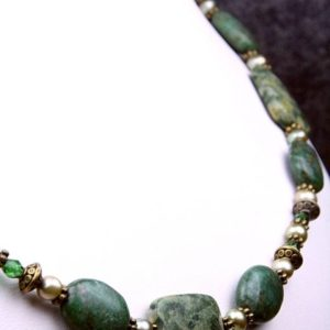 Shop Rainforest Jasper Necklaces! Rainforest Jasper Rhyolite and Green Jasper Freshwater Pearl Necklace | Natural genuine Rainforest Jasper necklaces. Buy crystal jewelry, handmade handcrafted artisan jewelry for women.  Unique handmade gift ideas. #jewelry #beadednecklaces #beadedjewelry #gift #shopping #handmadejewelry #fashion #style #product #necklaces #affiliate #ad