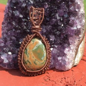 Shop Rainforest Jasper Jewelry! Rainforest Rhyolite Wire Wrapped Pendant, Rhyolite Wire Wrap, Wire Wrapped Rhyolite, Rhyolite Pendant, Rhyolite Necklace, Rhyolite Jasper | Natural genuine Rainforest Jasper jewelry. Buy crystal jewelry, handmade handcrafted artisan jewelry for women.  Unique handmade gift ideas. #jewelry #beadedjewelry #beadedjewelry #gift #shopping #handmadejewelry #fashion #style #product #jewelry #affiliate #ad