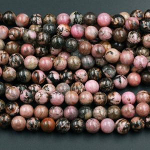 "Natural Pink Rhodonite Beads 4mm 6mm 8mm 10mm Round Beads Earthy Pink Interesting Black Matrix Beads 15.5"" Strand 