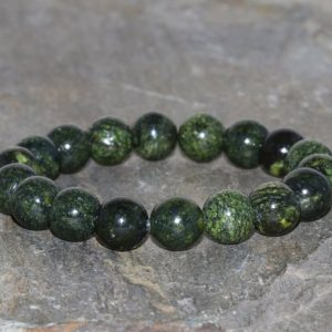 Shop Serpentine Jewelry! Dainty Serpentine Bracelet Handmade 10mm Green Snake Skin Russian Serpentine Beaded Gemstone Bracelet Stacking Bracelet Unisex Bracelet | Natural genuine Serpentine jewelry. Buy crystal jewelry, handmade handcrafted artisan jewelry for women.  Unique handmade gift ideas. #jewelry #beadedjewelry #beadedjewelry #gift #shopping #handmadejewelry #fashion #style #product #jewelry #affiliate #ad