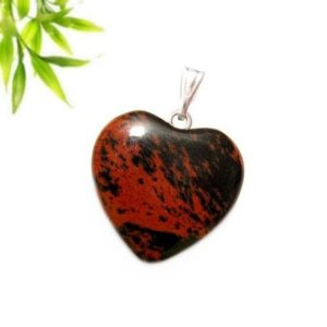 Shop Mahogany Obsidian Pendants! Silver-plated heart pendant – mahogany obsidian (mahogany) | Natural genuine Mahogany Obsidian pendants. Buy crystal jewelry, handmade handcrafted artisan jewelry for women.  Unique handmade gift ideas. #jewelry #beadedpendants #beadedjewelry #gift #shopping #handmadejewelry #fashion #style #product #pendants #affiliate #ad