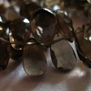 Shop Smoky Quartz Beads! Smoky QUARTZ Pear Briolettes Beads, Luxe AAA, 4 pcs, 9.5-10 mm, Chocolate Brown, faceted..neutral brides bridal | Natural genuine beads Smoky Quartz beads for beading and jewelry making.  #jewelry #beads #beadedjewelry #diyjewelry #jewelrymaking #beadstore #beading #affiliate #ad