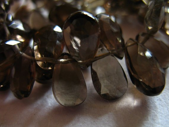 Smoky Quartz Pear Briolettes Beads, Luxe Aaa, 4 Pcs, 9.5-10 Mm, Chocolate Brown, Faceted..neutral Brides Bridal