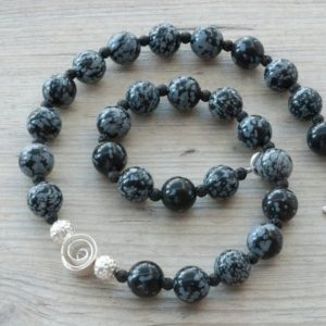 Black and White Snowflake Obsidian and Black Lava Stone Statement Necklace, Gemstone Designer Necklace, Obsidian Jewelry | Natural genuine Gemstone necklaces. Buy crystal jewelry, handmade handcrafted artisan jewelry for women.  Unique handmade gift ideas. #jewelry #beadednecklaces #beadedjewelry #gift #shopping #handmadejewelry #fashion #style #product #necklaces #affiliate #ad