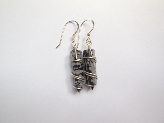 Snowflake Obsidian Points Wire Wrapped Sterling Silver Dangle Earrings.