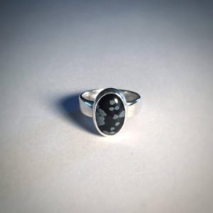 Shop Snowflake Obsidian Rings! Snowflake Obsidian Sterling Silver Ring | Natural genuine Snowflake Obsidian rings, simple unique handcrafted gemstone rings. #rings #jewelry #shopping #gift #handmade #fashion #style #affiliate #ad
